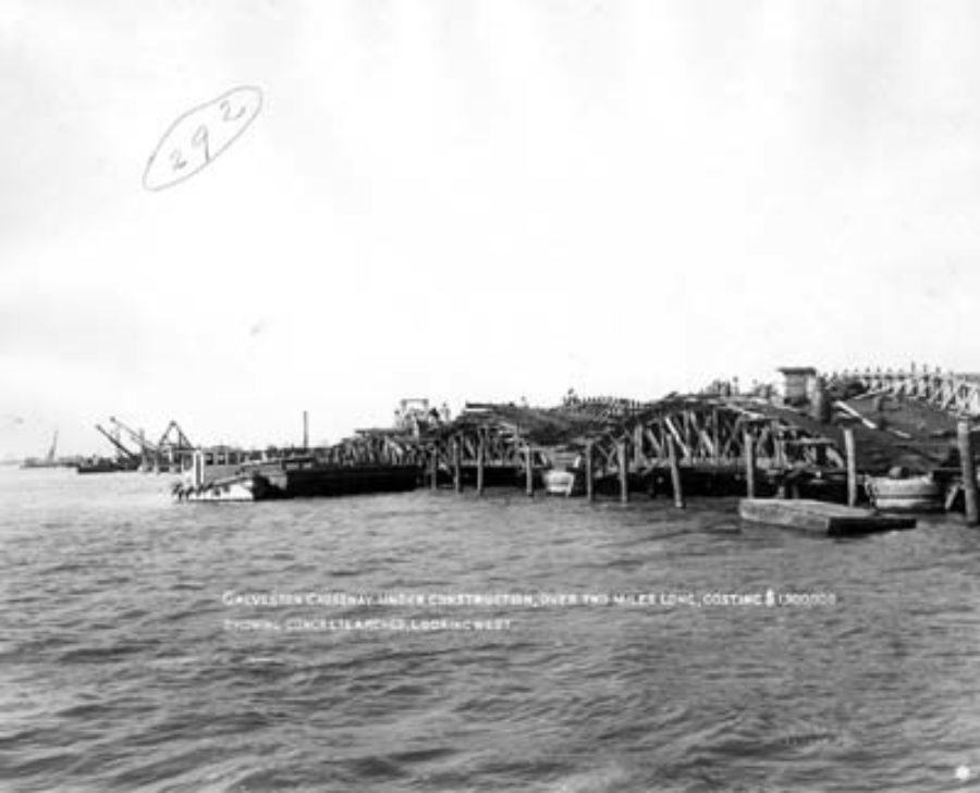 G-18221FF2-10 Galveston Causeway under Construction, over Two Miles Long, Costing $1,500,000 Showing Concrete Arches, Looking West