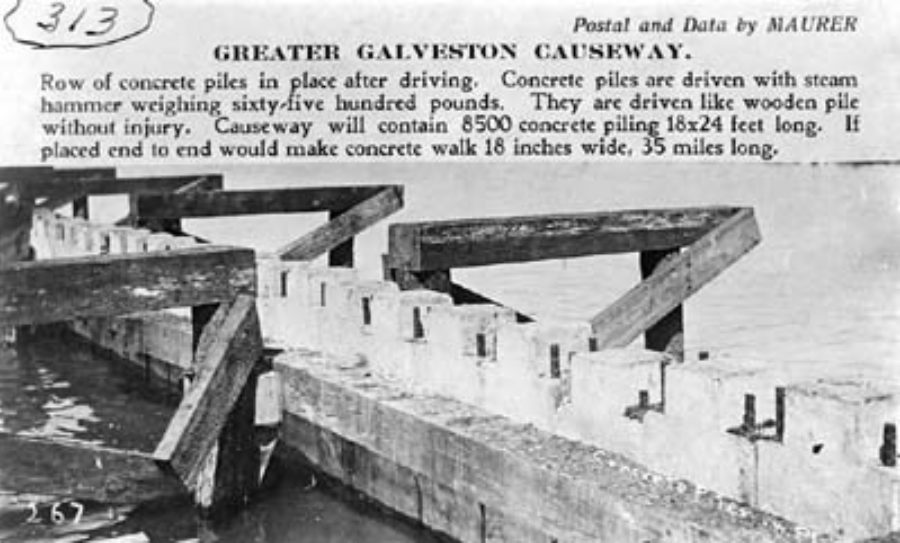 G-18221FF2-5 Greater Galveston Causeway.  Row of concrete piles in place after driving.
