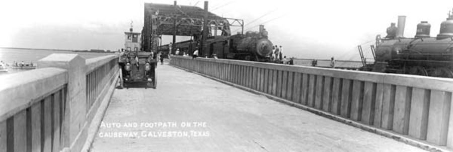 G-18221FF4-1 AUTO AND FOOTPATH ON THE CAUSEWAY, GALVESTON, TEXAS