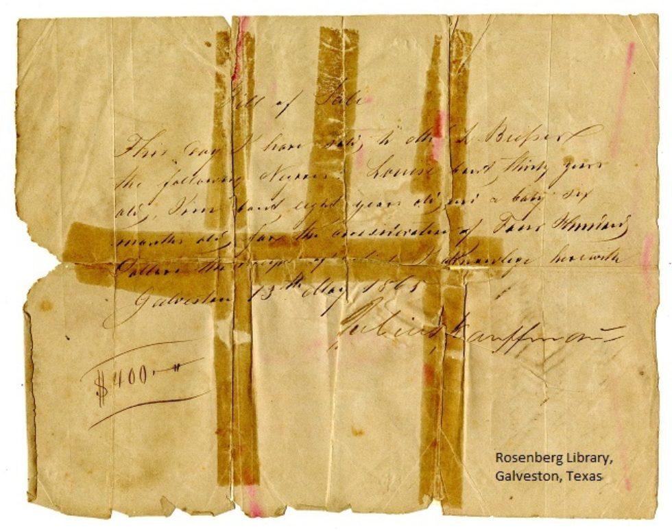 Julius Kauffman Slave Bill of Sale Digitized