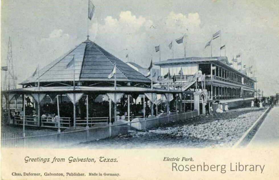 """Postcard photo of Carousel at Electric Park, Galveston, Texas. circa 1907. Text says """"Greetings from Galveston, Texas...Electric Park"""" at the bottom. Electric Park, Part 1"""